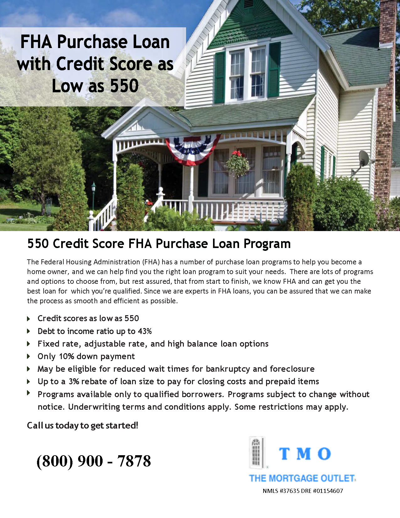 Website 550 Credit Score FHA Purchase